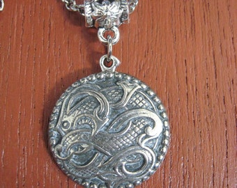 Pewter Button Necklace from Norway Dragon Drage