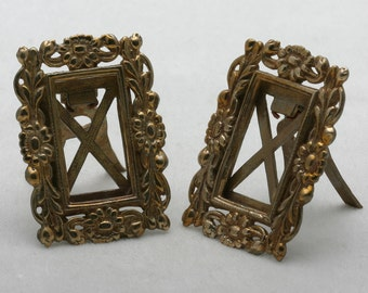 Vintage Art Nouveau Brass Picture Frame Set (2) Flowers 1970's