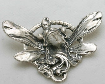 Vintage Art Nouveau Pendant Sterling Silver Lady Fairy Wings 1970's