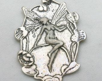 Vintage 925 Sterling Silver Art Nouveau Fairy Pendant 1970's tinkerbell