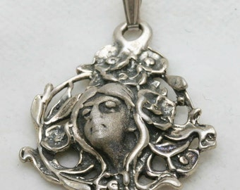 Vintage Art Nouveau Pendant Sterling Silver Lady Fairy Roses Fairy 1970's Oxidized