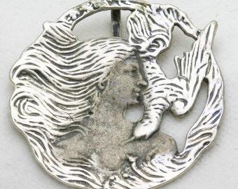 Vintage Art Nouveau Pendant Sterling Silver Fairy bird Circle Lady 1970's