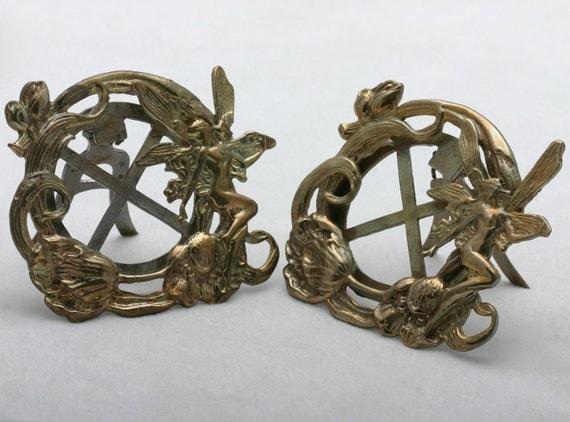 Vintage Art Nouveau Fairy Brass Picture Frames Set (2) Flowers