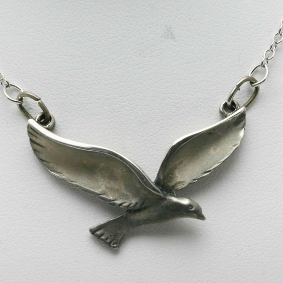 RESERVED Vintage 1970's Peace Dove 925 Sterling Silver Necklace cable chain Matte