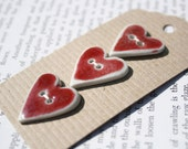 Bright Red Heart Buttons in Porcelain ceramic.