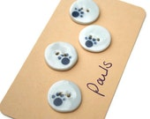 Ceramic buttons, small round with paw prints design