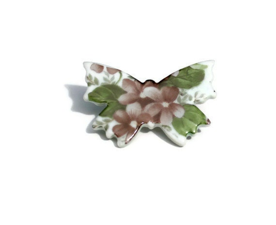 Butterfly brooch, porcelain ceramic, violet flower chintz, shabby chic, quite Goth.