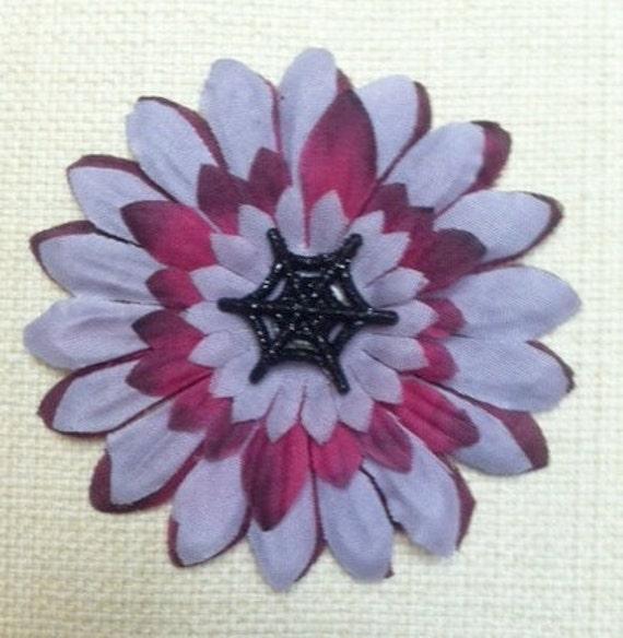 Psychobilly Spiderweb Dark Hair Flower for Women and Teens