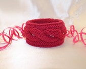 Pink Cable Bangle Beaded Bracelet