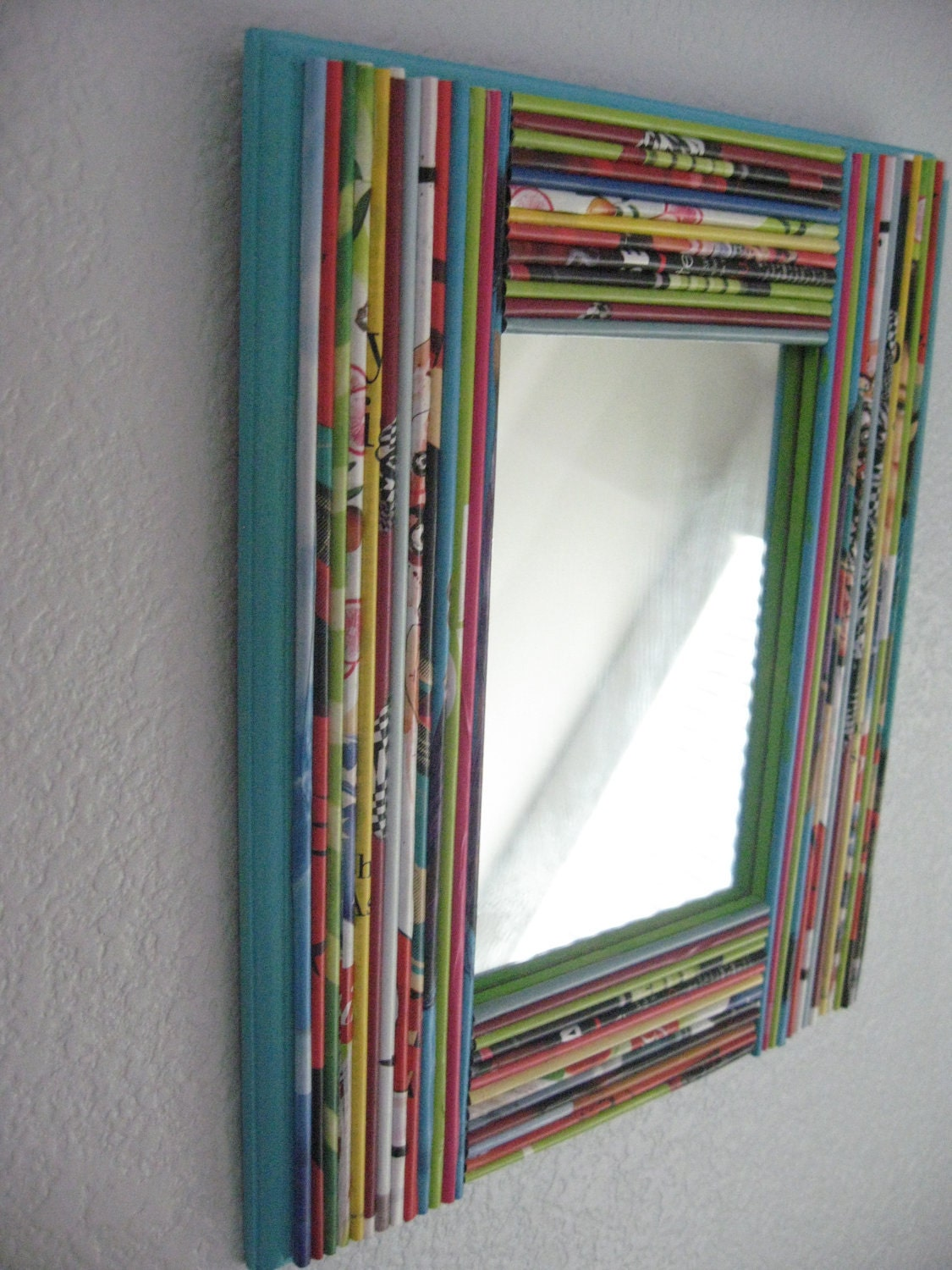 Mirror Framed With Recycled Magazines Colorful Decorative