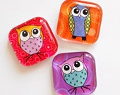 Owl Magnets, Fridge Magnets, Owls, Glass Magnets, Glass Owl Magnets (659) - KellysMagnets