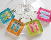 Wine Charms, Flip Flops, Wine Charms, Glass Wine Charms, Colorful, Summer, Beach, Pool Party, Summer Party