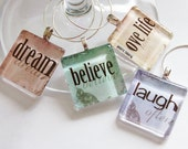 Wine Glass Charms, Wine Charms, Glass Wine Charms, Dream, Believe, Love Life, Laugh Often, pastel