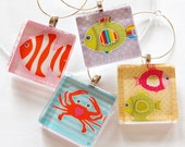 Beach Wine Charms, Fish Wine Charms, Wine Charms, Glass Wine Charms, Home and Garden, Fish, Crab, Beach
