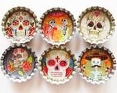 Sugar Skull magnets, bottle cap magnets, Fridge Magnet, Dia de los Muertos, Day of the dead, sugar skulls, skulls, skeleton (1115)