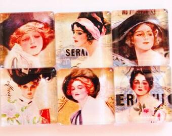 Magnets, Kitchen Magnets, Fridge Magnets, Glass Magnets, Victorian Women, Magazine Covers, stocking stuffer