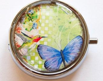 Butterfly, Pill Box, Pill Case, Pill Container, Hummingbird case, Gift for her, butterfly pill case, hummingbird (632)