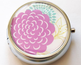 Flower Pill Box, Pill Case, Pill Container, Floral, Gift for her, Candy container, mint case (636)