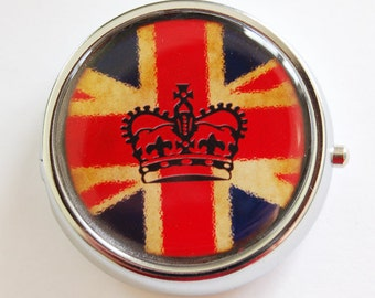 British Pill Box, Pill Case, Pill Container, Candy container, mint case, England, Britain, Crown, Pill Box, union jack