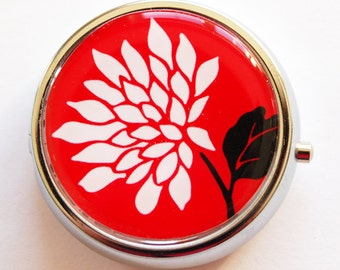 Flower Pill Box, Pill Case, Pill Container, Floral, Gift for her, gift for mom, Candy container, mint case, red white (721)
