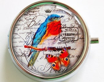 Bird pill case, Pill Box, Pill Case, Pill Container, case, Gift for her, Candy container, mint case (810)