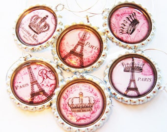 Paris wine charms, Wine Glass Charms, Wine Charms, Entertaining, Wine, Paris, I Love Paris, Paris charm, eiffel tower, pink