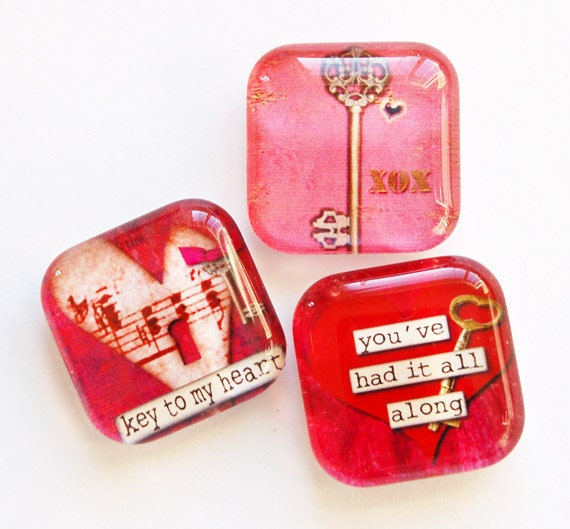 Heart Glass Magnets, Fridge Magnets, Heart Magnets, Glass Heart, Love, Wedding Favors