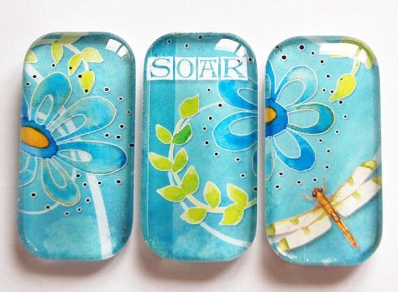 Flower Glass Magnets, Fridge Magnets, Flower Magnets, Dragonfly, dragonflies, soar, blue