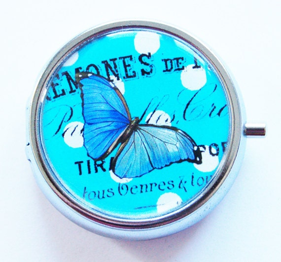 Butterfly, Pill Box, Pill Case, Pill Container, Bird, Gift for her, gift for mom, Round pill case, Candy container, mint case, blue