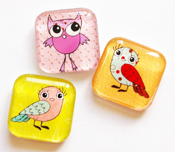 Owl Magnets, Fridge Magnets, Owls, Glass Magnets, Glass Owl Magnets