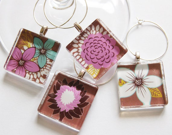Flower Wine Charms, Wine Charms, Barware, Glass Wine Charms, Home Decor, Flower Charms, Floral, Brown, Pink