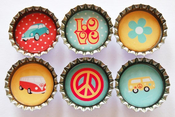Love Bus, Love Bug, Peace Sign, Fridge magnets, Kitchen magnets, magnets, 60s, summer of love