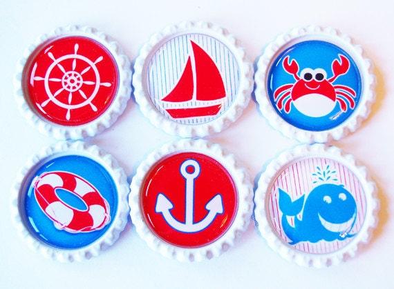 Sailing, Nautical, Bottlecap Magnets, Fridge magnets, Anchor, Sailboat, Ocean, Red White Blue