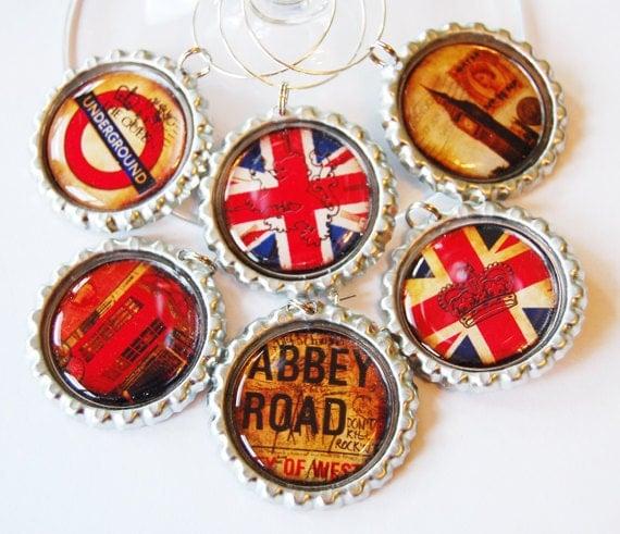 London wine charms, Wine Glass Charms, Wine Charms, barware, London, England, British, Union Jack, Abbey Road, London Calling (1236)