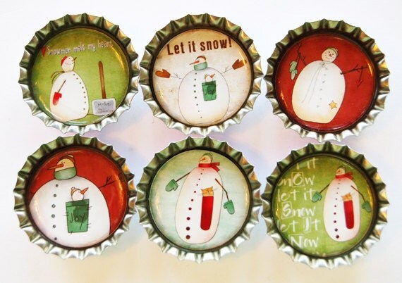 Snowman Magnets, Fridge Magnets, Magnets, Bottlecap magnets, bottle cap magnets,Snowman, Let it snow, red, green, winter