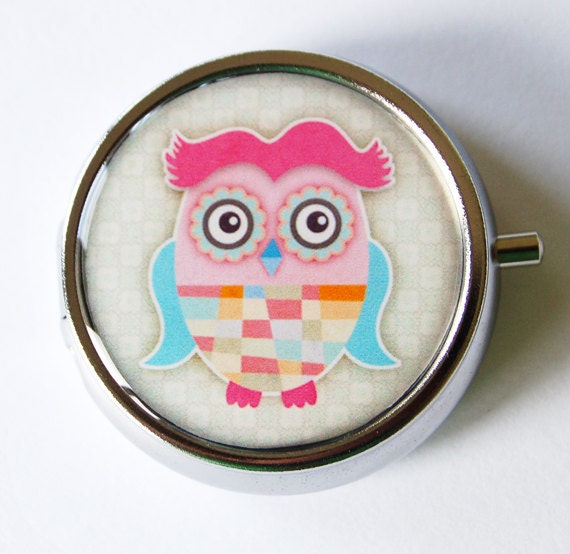 Owl Pill Box, Pill Case, Pill Container, Pink, Gift for her, owl, Mint case, Candy container (1327)