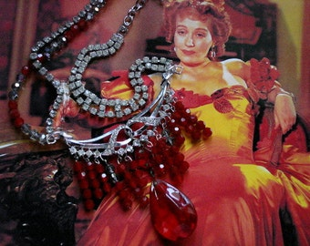 Antebellum Bordello Madam Vintage Rhinestone Red Crystal Altered Necklace