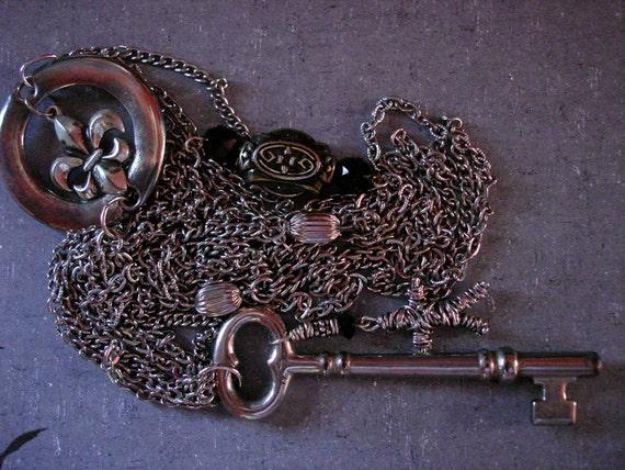 Skeleton Key Voodoo Doll Fleur de Lis Assemblage Necklace
