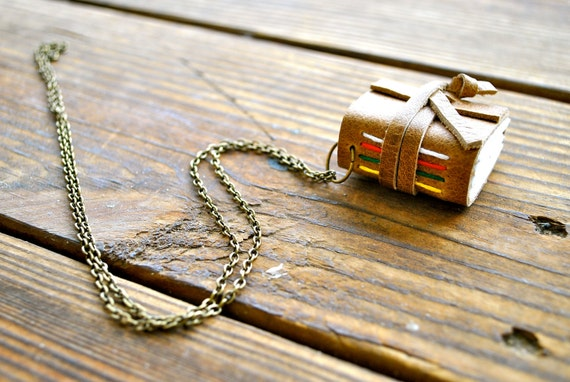 recycled leather journal necklace: native american