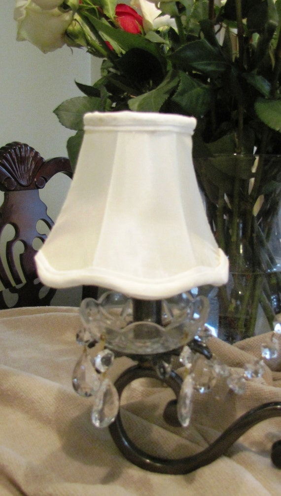 Vintage Handmade Ivory Bell shabby Chic Chandelier Shades Set of 5