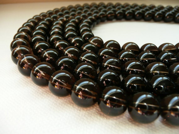 RESERVED for LINDA S - Round Smooth Smokey Quartz Bead - 12MM - 16 Inch Strand - 2 Strands