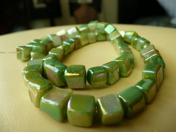 Cube Mother of Pearl Shell beads - Green - Iridescent -  6-10mm  - 15.5 inch strand