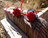 Top Hat Bobby Pin Red Rose and  Lace