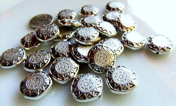 Indian Star Silver Plated Medallion Spacer Beads
