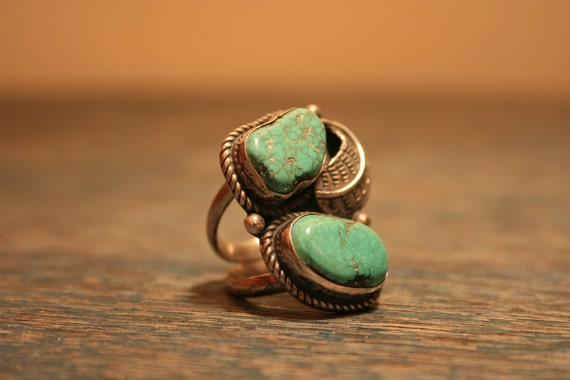 RESERVED for ARROWOWL- Vintage Double Turquoise Ring - Feather - Southwestern - Navajo - Large - BrandosFunkyFinds