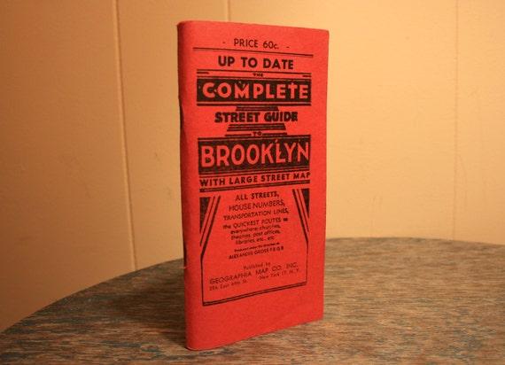 Vintage Brooklyn Street Guide Map - Street Map - 1950s - BrandosFunkyFinds