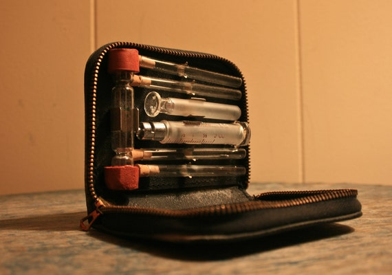 vintage medical glass syringe kit medical vials medical