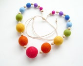 Felted Bead Necklace for Girls  - Rainbow handmade wool jewelry with bells inside - ready to ship