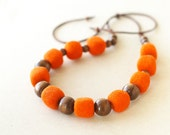 Felted Cube Bead Necklace for Girls - Orange handmade wool jewelry - ready to ship
