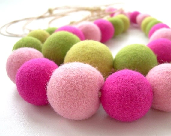 Felted Bead Necklace for Girls - Colorful hot pink and lime green handmade wool jewelry  - ready to ship
